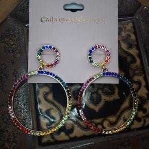 New Catherine Malandrino Rainbow Crystal Earrings